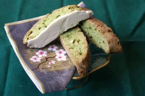Matcha green tea and white chocolate biscotti