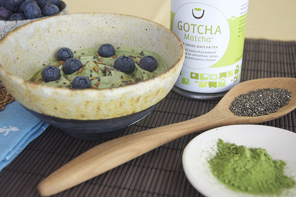 Gotcha Matcha and Yogurt with Berries and Flax Seeds